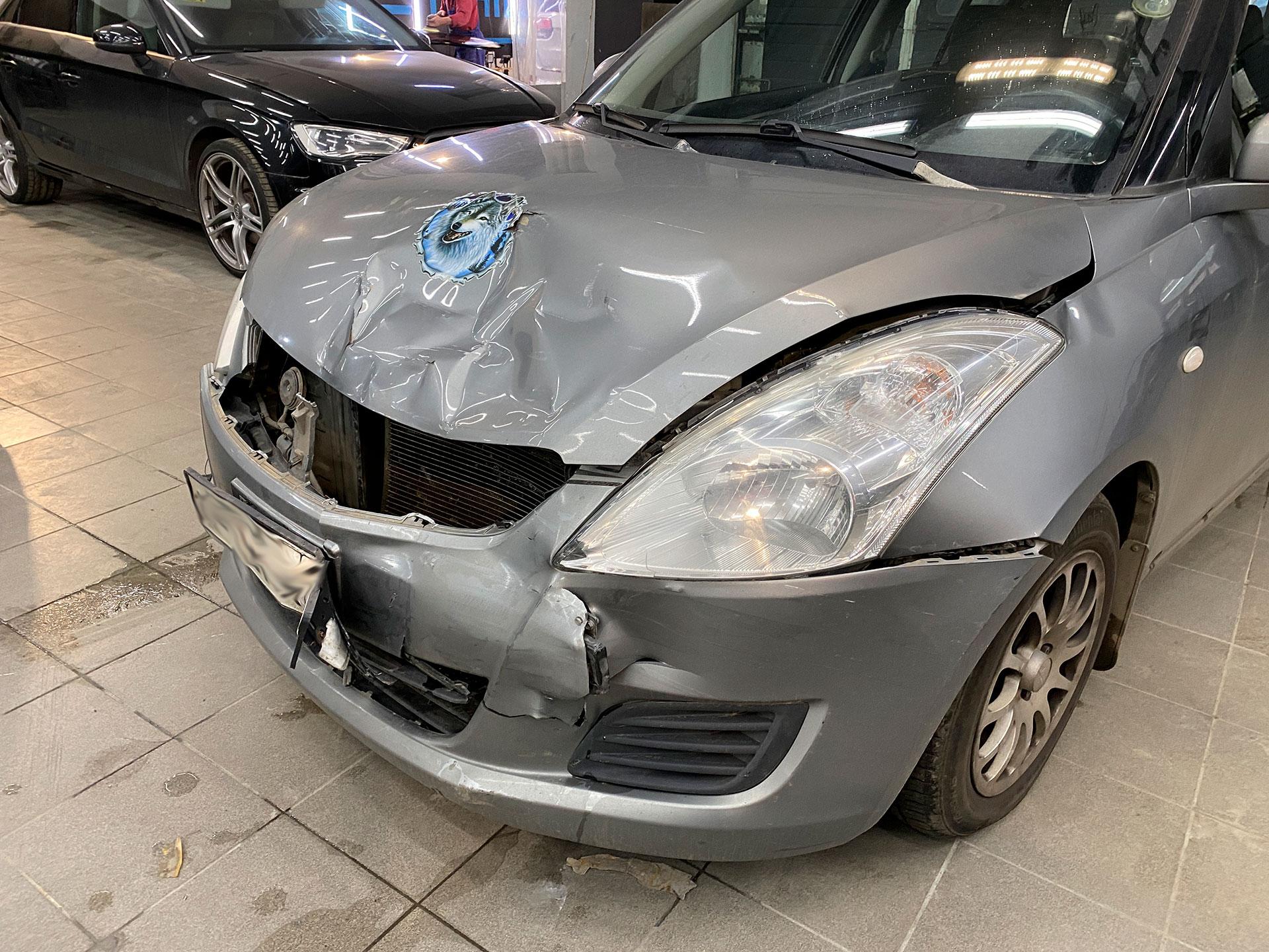 Suzuki SWIFT попал в ДТП, замена деталей и окрас передней части