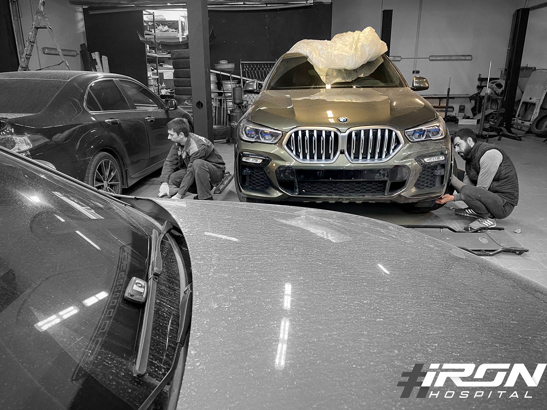 Окрас переднего бампера на совсем новом BMW x6
