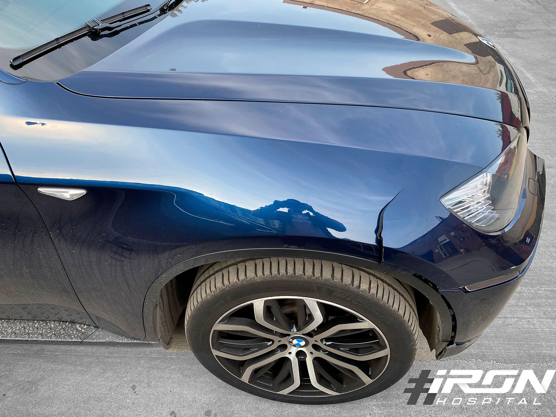 Сильное повреждение на крыле BMW X6, но мы сможем его отремонтировать
